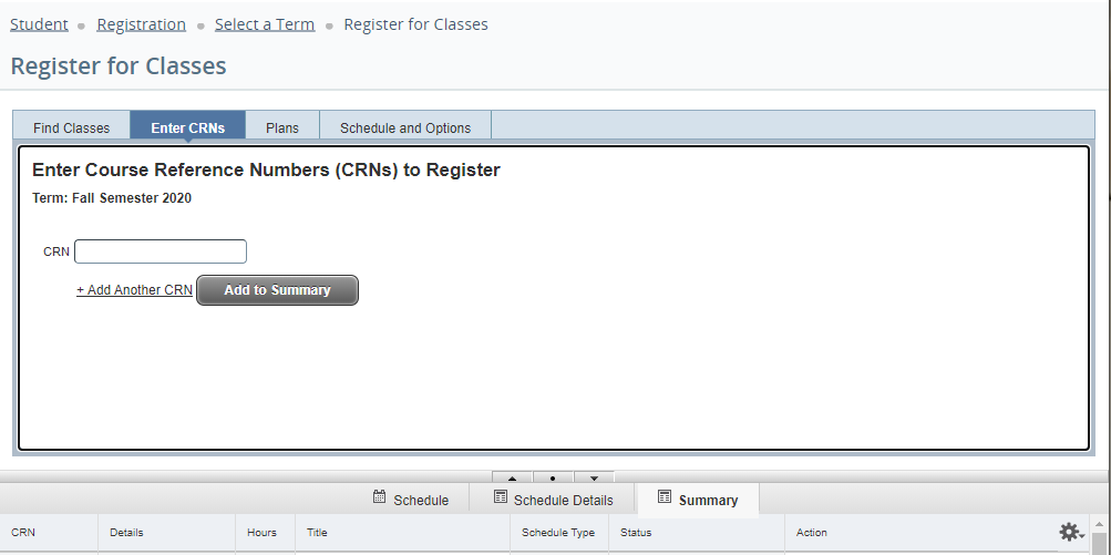 Screenshot of CRN Tab in Registration Site